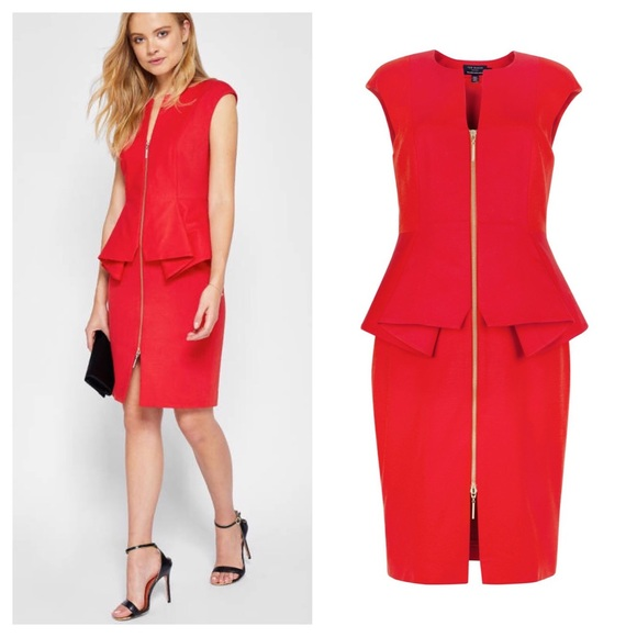 edd8cd551 Ted Baker London Red JamThun Peplum Dress. M 5b00a391caab44b8a26ad2f9